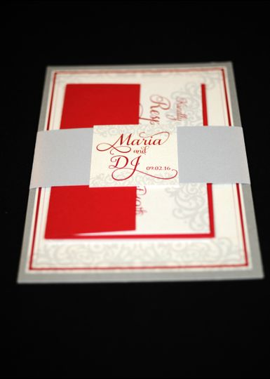Red and white invitation