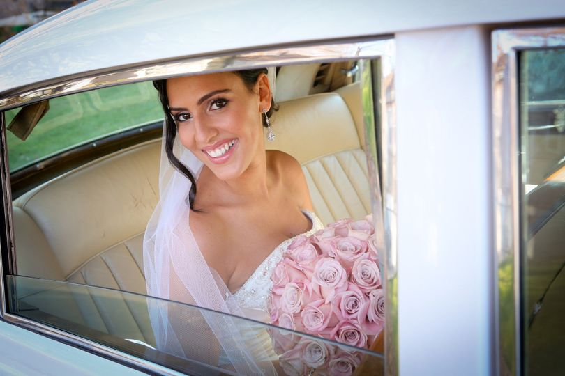 In the bridal car