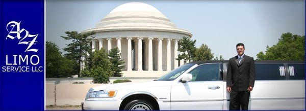 Steve at the Jefferson Memorial with super stretch white limousine.