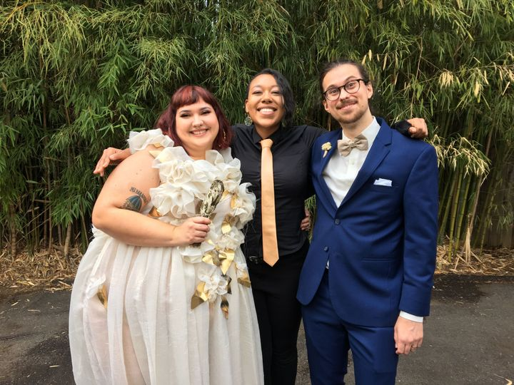 Smiling with the bride and groom! (September, 2018)