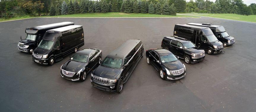 Black luxurious cars