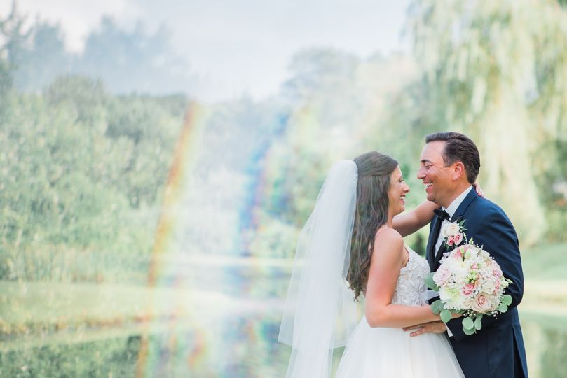 Bride and Groom and Rainbow