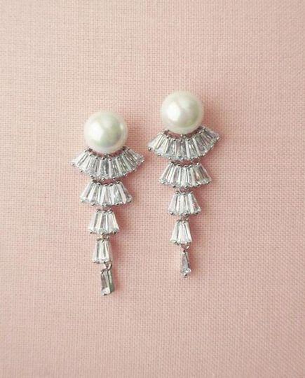 1920's style cz pearl earrings