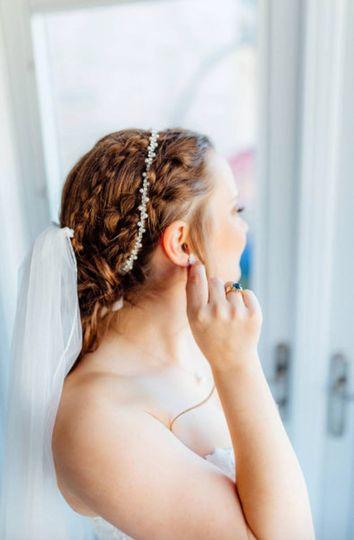 Thin beaded bridal headband
