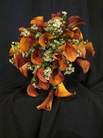 orange calla cascade bouquet 2
