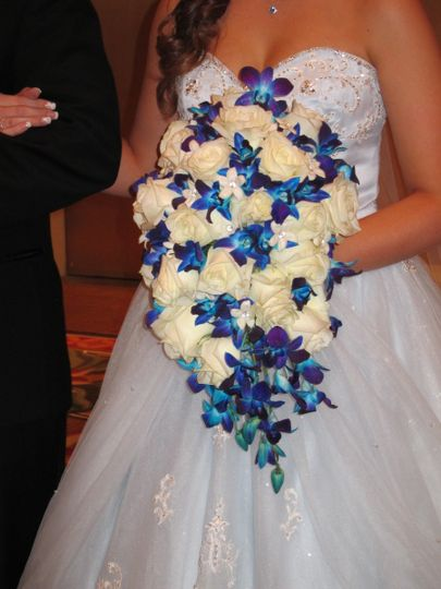 blue and white cascade bouquet