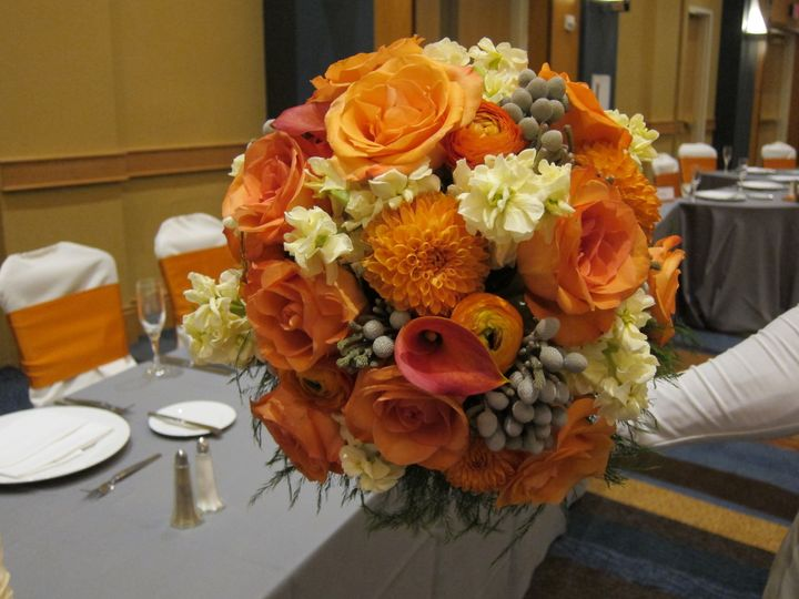 orange and silver bouquet