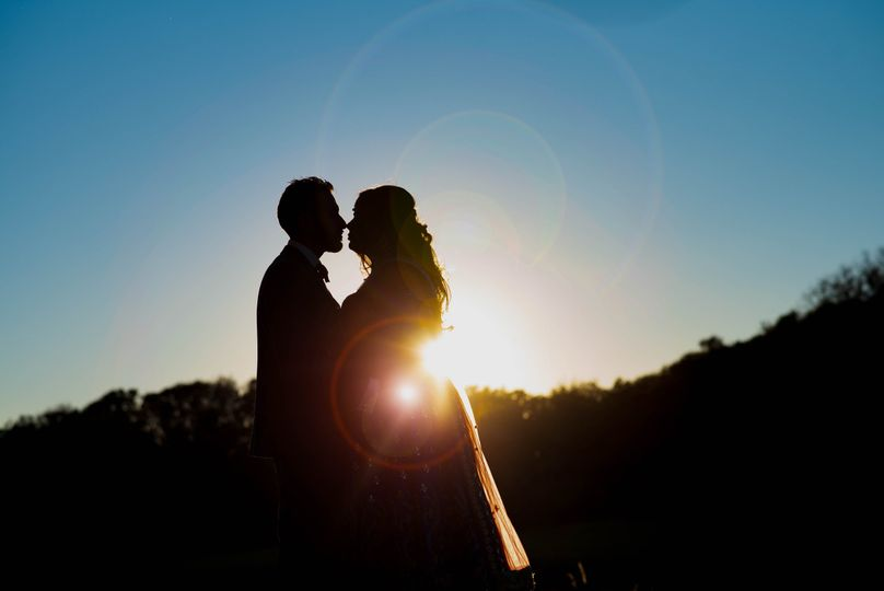 Couples portrait in the sunset