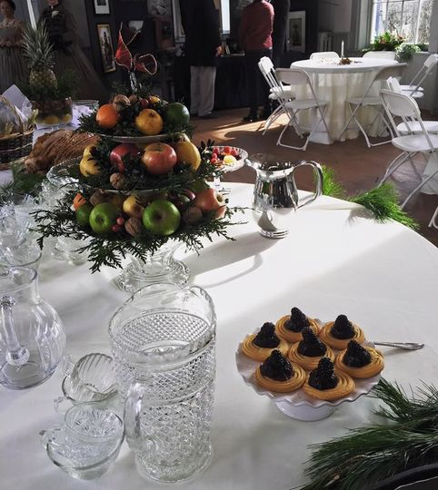 Table with fruit centerpiece