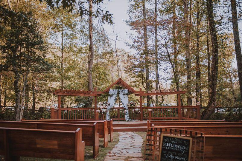 Outdoor creekside ceremony