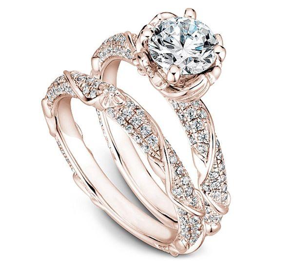 Diamond/Rose Gold Wedding Set