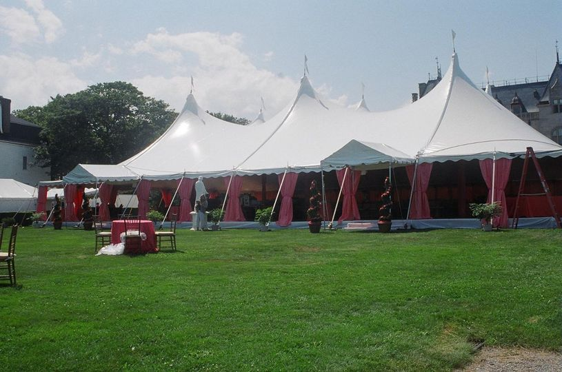 Pink curtained tent