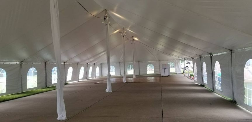 40x120 tent with pole drapes