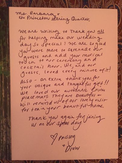 A Thank You note received