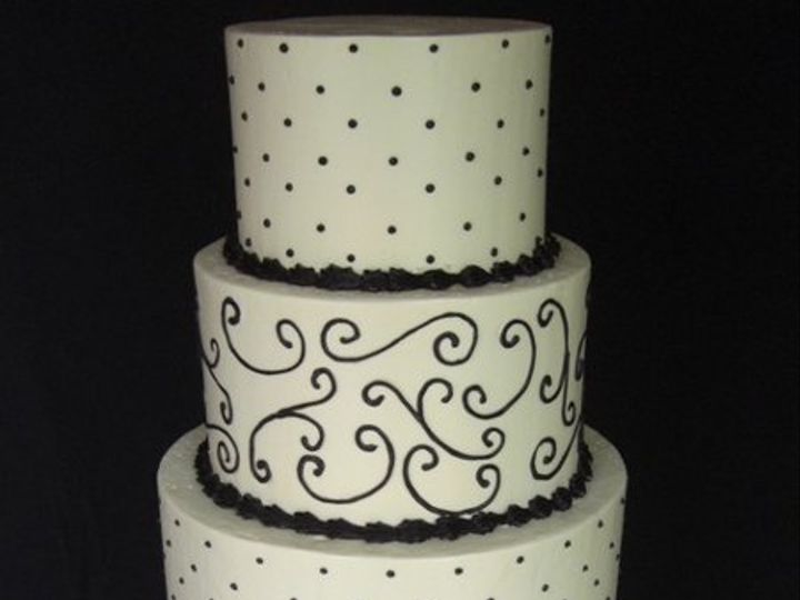 Tmx 1334620617477 BlackScrollsandDots4 Chino Hills wedding cake