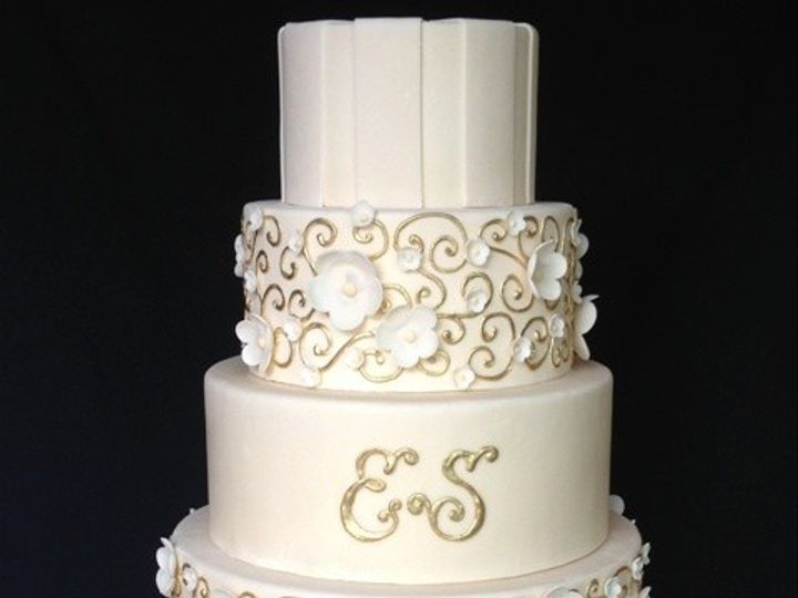 Tmx 1371662483498 Elegant Gold And Ivory 26 Chino Hills wedding cake