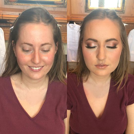 Bridal makeup before & after