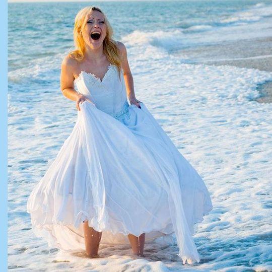 Bride on the beach in Pier Village Long Branch New Jersey