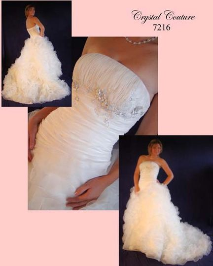 Crystal Bridal Couture style 7216 Angellica shown in ivory organza but may be ordered in white,...
