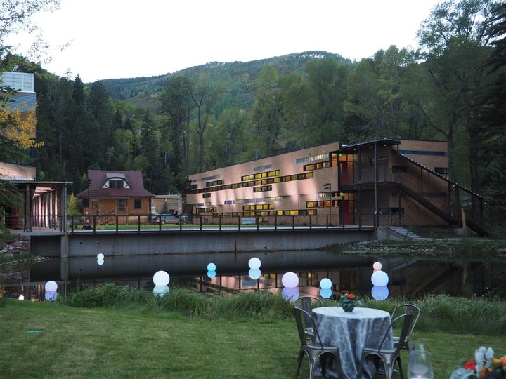 Building Up-Lighting & Glowing Floating LED Orbs - Aspen Country Day Ribbon Cutting Ceremony
