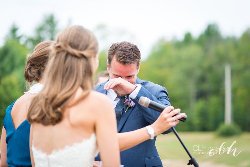 Tears of love & joy hits the groom as he is listening to his beautiful bride saying her vows of...
