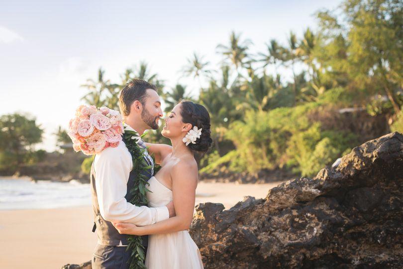 Beautiful Maui destination wedding photographed by Maui wedding photographers Karma Hill...
