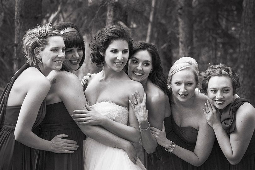 A fun photo shoot with happy Bridesmaids in Keystone's River Run Village.