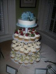 Cupcake tower :  -Mojito cupcakes with lemon curd filling and Italian Meringue Buttercream...