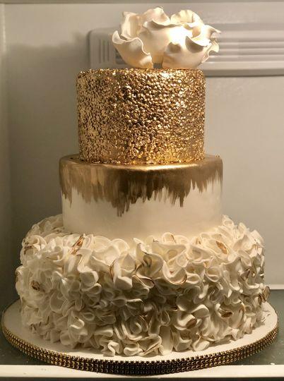 3 tier gold ruffle cake