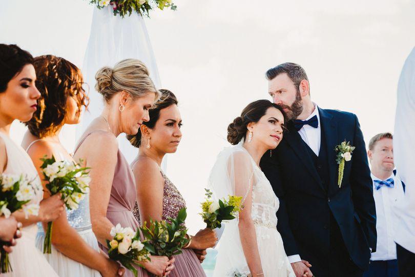 Romantic groom at ceremony
