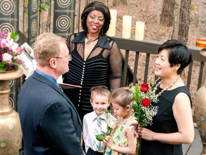 Officiating a blended family interfaith wedding.