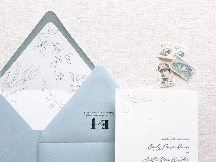 Tmx Dusty Blue And Gray Letterpress Invitations 51 989633 157747124043287 The Colony, Texas wedding invitation