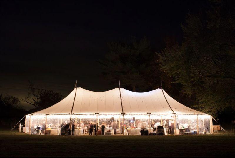 Sailcloth tent lighting