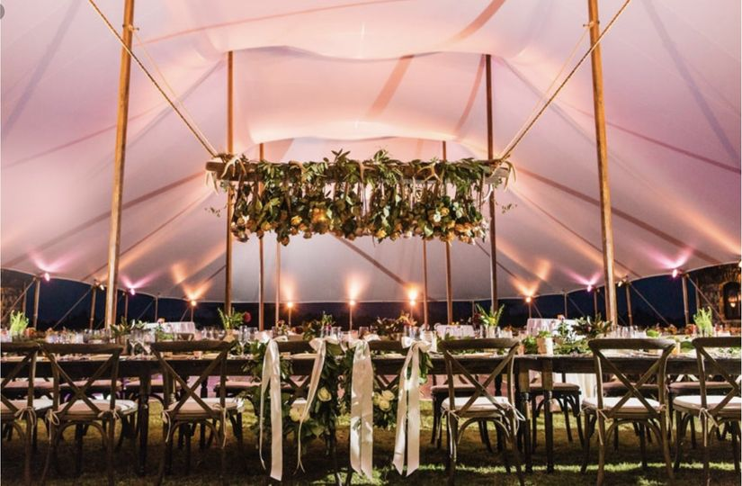 Reception tent decor and design