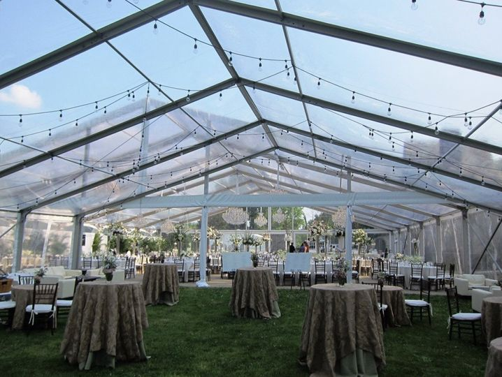 Tented cocktail reception setup