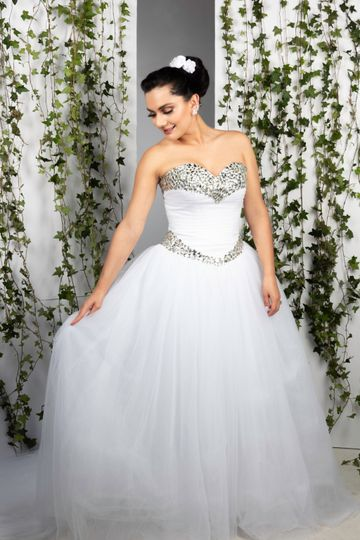 Happy bride in gown