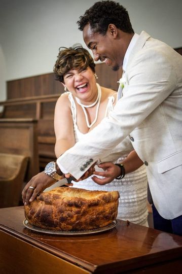 Bread cutting during a wedding