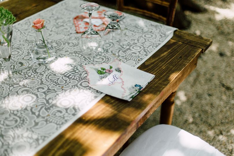 Intricate table runner and menu cards