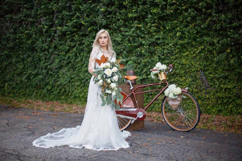 Bride by the bicycle