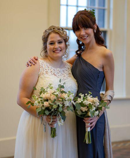 Bride, and bridesmaid