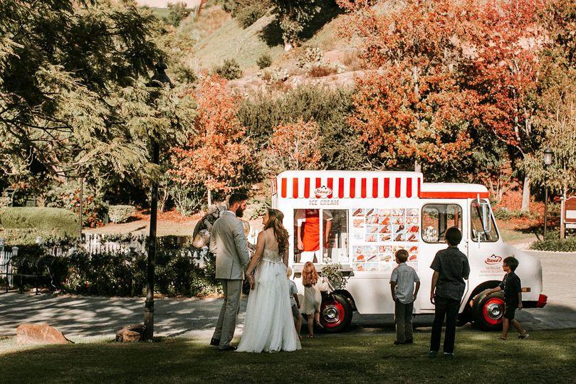 Heritage Park wedding in San Diego, ice cream truck for wedding desert!