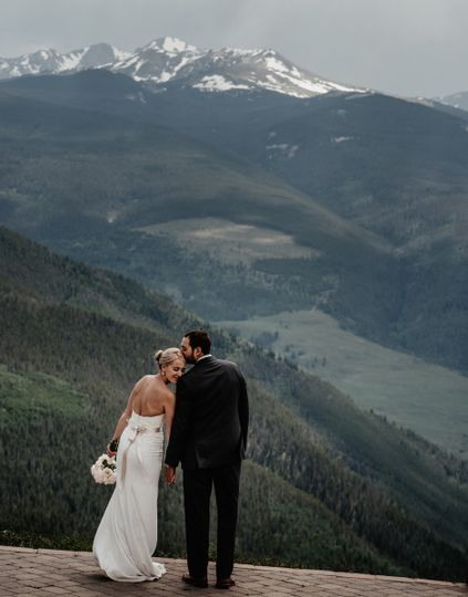 Just married at the top of the Vail Mountain Wedding Deck.