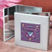 MIrror Compact with Heart Desgins encrusted with gems