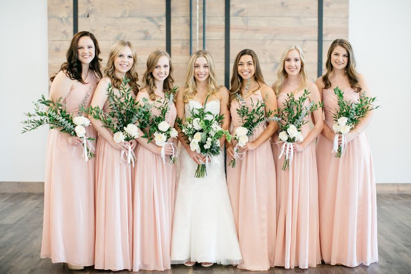 Bride and the bridesmaids
