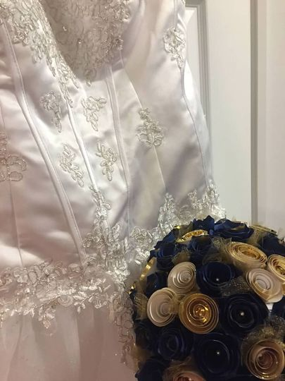 Gown and keepsake bouquet