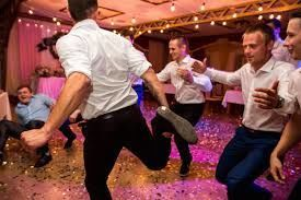 Groomsmen celebrating