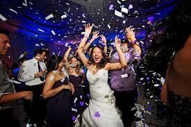The bride happy