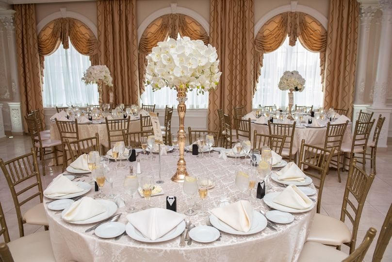 Table settings and tall centerpieces