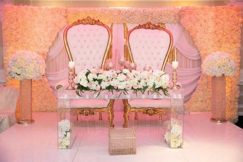 Chairs and floral backdrop decor