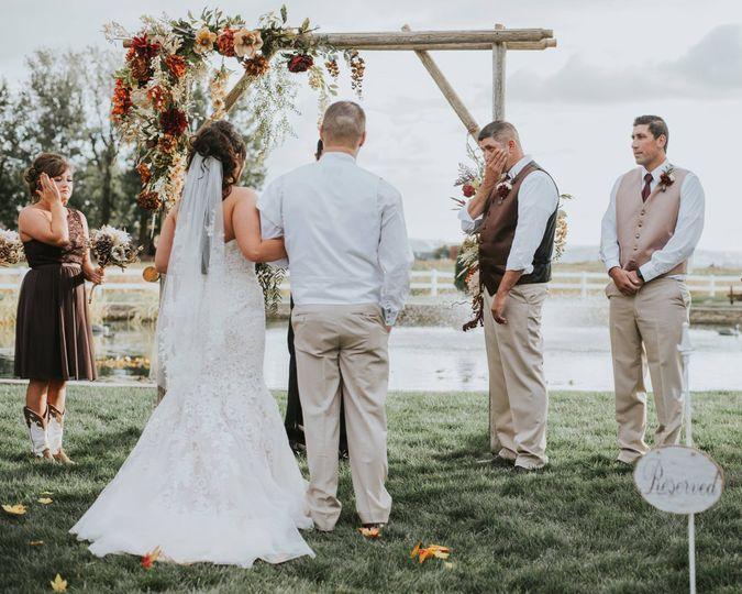 Vows under arch